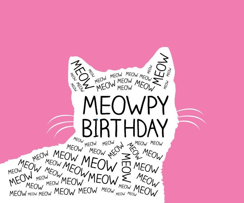 Meowpy Birthday Birthday Card Birthday Cat Card Cat Card Kitty