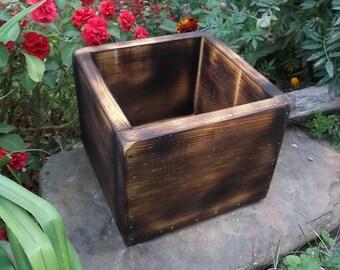 Rustic Wedding Centerpiece - Wood Gift Box - Planter