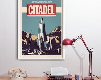 Citadel Graphic Sci-Fi Vintage Art Print