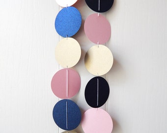 Navy Light Pink Gold Leaf Circle Garland / Party Bunting / Nursery Bunting / Dorm Decor / Photo Prop
