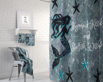 Mermaid Shower Curtain Mermaid Wishes and Starfish Kisses Optional Bath Mat, Towels