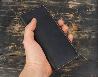Men's leather  Purse Financier Black.Handmade.Big leather wallet Travel wallet Big wallet Large wallet Long wallet Men wallet Woman wallet