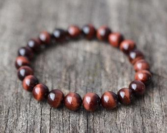 8mm Red Tiger Eye Bracelet, Mens Bracelet, Womens Bead Bracelet, Semi Precious Stone Bracelet, Stretch Bracelet, Yoga Bracelet, Gifts