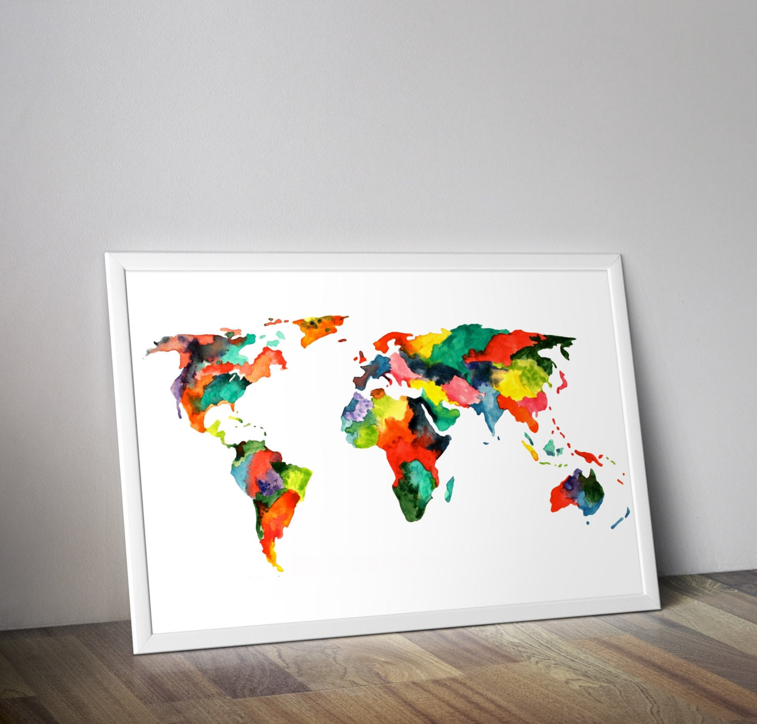 World map painting map poster map wall art multicolor world zoom gumiabroncs Image collections