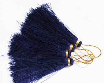 CRAFT CREATION! LOT 2 NYLON NAVY BLUE TASSEL AND WIRE GOLD + 10 CM