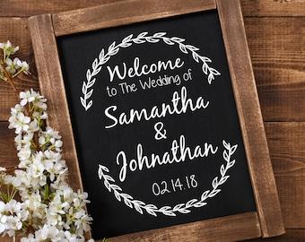 Custom wedding sign decal.  Wedding chalkboard decals, make great rustic wedding decor.