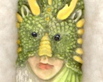 Dragon Lady Pendant China Painted Porcelain