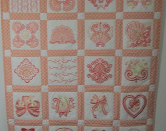 "Machine Embroidered Baby Quilt, Crib Quilt, Baby Blanket, Handmade Baby Quilt - Blushing Impressions - approx 34"" x 42"""