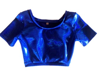 Blue Holographic Short Sleeve Crop
