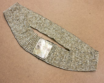 Vintage Beaded Stretch Belt with Abalone