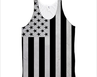 Subdued Colors U.S. Flag Men's All-Over Tank Top (Made in the USA)