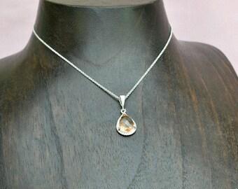 Champagne necklace, Swarovski necklace, bridesmaid crystal necklace, teardrop pendant