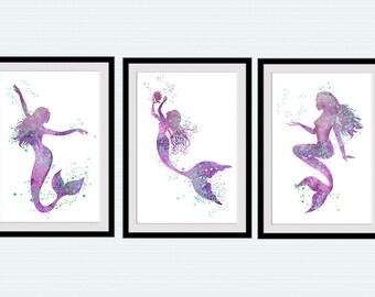 Mermaid watercolor poster Set of 3 mermaids Mermaid wall decor in purple Mermaid art print Girls room wall art Kids room decor in purple S40