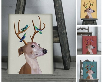 Greyhound gift - Greyhound and Antlers  funny dog cute dog gift for dog lovers Greyhound poster Greyhound art unique gifts anniversary gifts