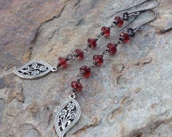 GARNET earrings, garnet long earrings Sterling Silver flowers, floral earrings, AngryHairJewelry handmade jewelry