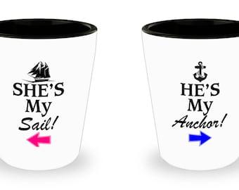 Couple Shotglass, Romantic Matching Gift Set, He's My Anchor She's My Sail, For Boyfriend Girlfriend Husband Wife, Couples Fiancee Dating