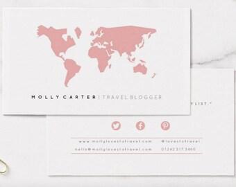 Sleek Media - Custom 'Worldie' Colour Travel Blogger Business Card Template [Digital Download]