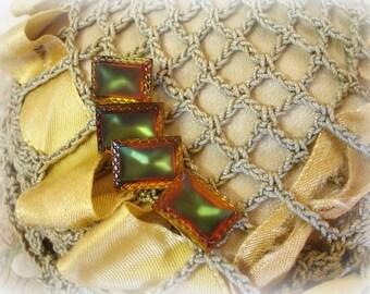 4 vintage autumn rhinestones color shift in shades of brown green topaz matte glass pretty pressed glass border 14 x 10mm silver backs