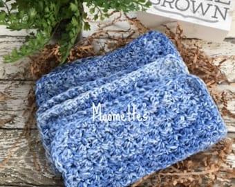 Dishcloth Set Handmade Farmhouse Kitchen Crochet Dish Cloths Blue Blues Crochet Washcloth Eco Friendly Cotton Dishcloths Set of 3