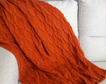 Orange Knitted afghan, Cozy throw over, Fall throw blanket, Rusty Knit blanket, Autumn color afghan, Cozy blanket, Afghan, Throw over