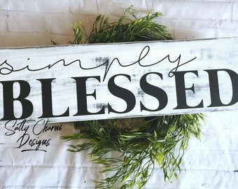 Simply Blessed Whitewash Wood Sign