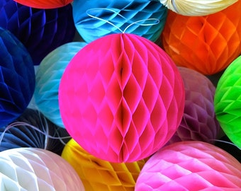 Hot Pink 4 Inch Honeycomb Tissue Paper Balls - Paper Party Decor Decoration Supplies