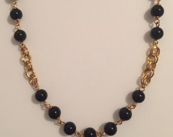 x Black and Gold Beaded Trifary Chain Necklace (#2)