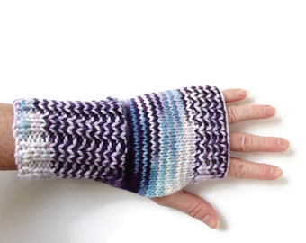 Ombre Fingerless Gloves, Texting Gloves, Womens Knit Gloves, Simple Gloves, Womens Fingerless Gloves, Purple Blue Gloves, Multi Color Gloves