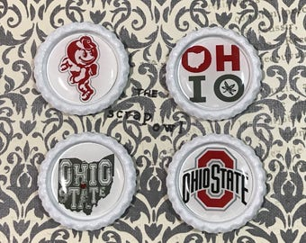 Ohio State Buckeyes Inspired Bottle Cap Magnets