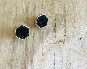 Crushed Onyx and Blue Coral Hexagon Earring