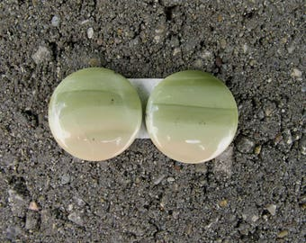 Pair matching Round Imperial Jasper cabochons. Various shades green and beige. 17mm.  125L0128 great for earrings or dangles