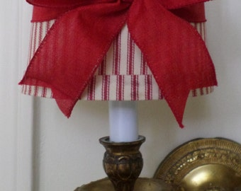 Mini Drum Lamp Shade for Chandelier or Sconce in a Red ticking fabric with Red Linen Bow French Country or Cottage Chic