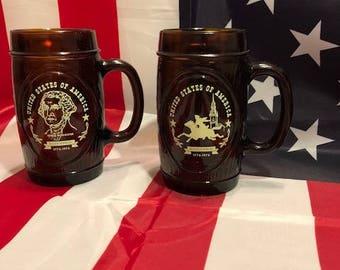 Set of 2 Vintage Bicentennial Glass Brown Mugs