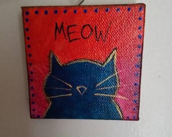 Miniature Art, Adopt some art! Kitty Cat Feline Meow miniature canvas painting