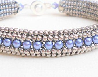 blue pearl bracelet beadwork bracelet silver seed bead bracelet stackable bracelet boho bracelet hippie bracelet gypsy bracelet