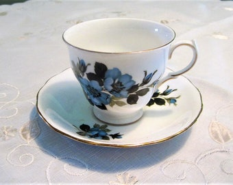 Royal Vale Tea Cup and Saucer Pattern No. 8332 1960s Tea Cup with Big Blue Flowers Made in England