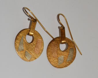 14k Yellow Gold Unique Vge Hand Wrought Modernist Earrings.