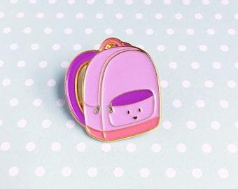 Backpack Purple Enamel Pin - travel lapel