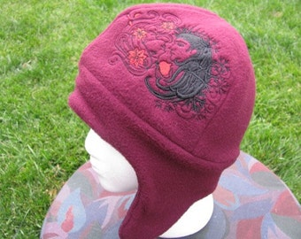 Persephone and Hades Maroon and Black Fleece Ear Flap Hat