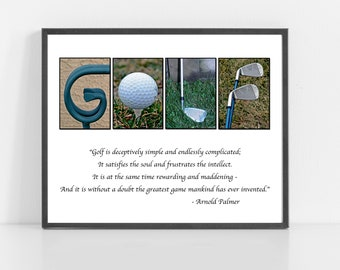 GOLF Gift - GOLF Lover - Gift for him, Golf Art - Photo Alphabet Print with Arnold Palmer Quote - 8x10 or 11x14