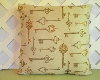 Golden Keys Pillow Cover, Skeleton Keys Pillow Cover/ Beige Pillow/ Beige, Gold Pillow/ Decorative Pillow/ Accent Pillow