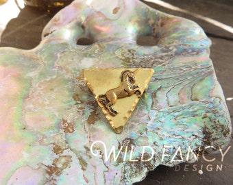 unicorn pin (hand-stamped brass) on small triangle