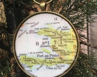 HAITI Map Christmas Ornament,  MISSIONARY Gift / HONEYMOON Gift / Wedding Map Gift / Travel Tree Ornament / Corporate gift