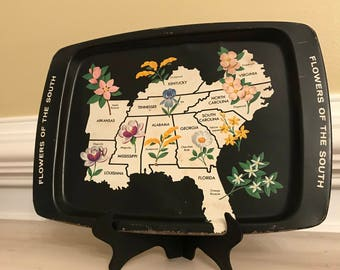 Vintage serving tray floral southern metal farm house wall art