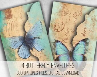 Butterfly Envelopes - Digital Collage Sheet Download -1037- Digital Paper - Instant Download Printables