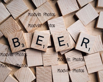 Scrabble Beer Photograph, Modern Art Photo,
