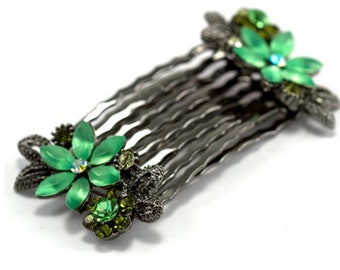 Hand Made Hair Jewelry Pair combs swarovski crystal flower pattern, Green(SO2098-gn)