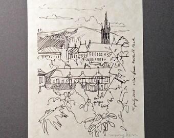 sketchbook print - Glasgow view from Ruchill Park 5x7 digital print