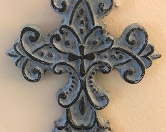 Small Cast Iron Cross - Rustic Blue