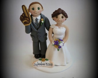 Wedding Cake Topper, Custom Cake Topper, Bride and Groom, Polymer Clay, Sports, Foam Finger, Personalized, Keepsake